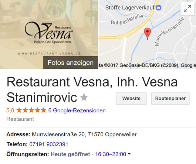 Restaurant Vesna Google My Business