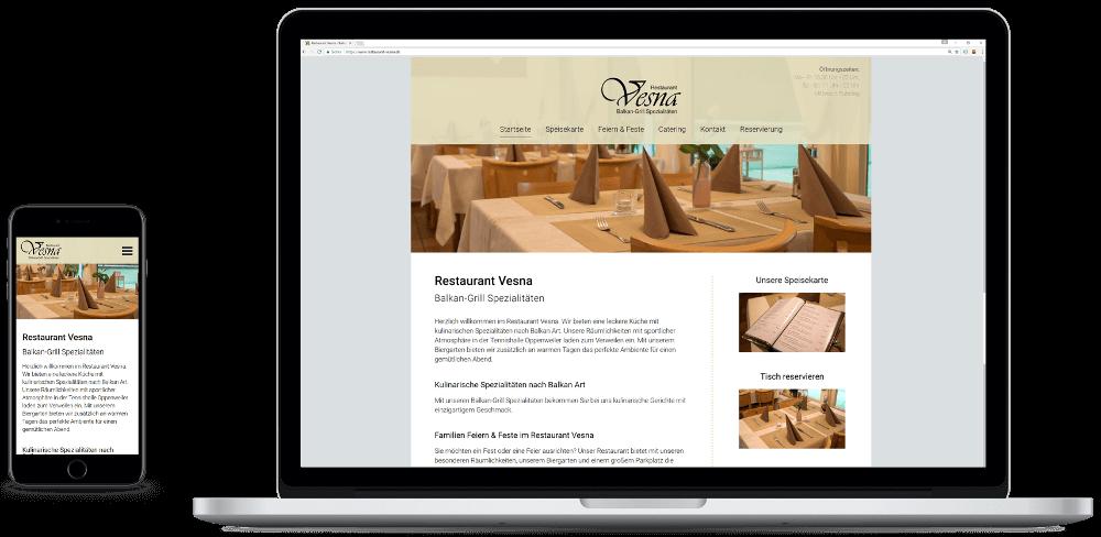 Restaurant Vesna Webseite