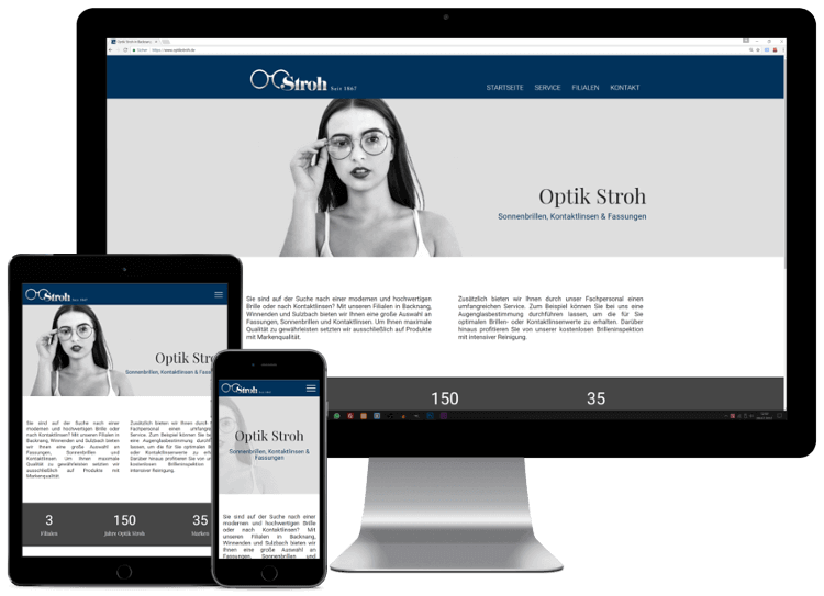 Mockup Optik Stroh Webseite