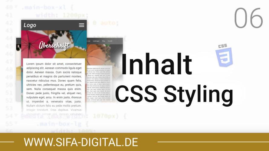 Responsive Webdesign: Inhalt CSS Styling